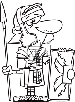 Royalty Free Clipart Image of a Roman Soldier