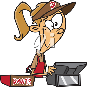 Royalty Free Clipart Image of a Girl Selling Donuts