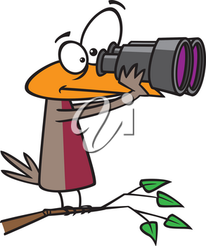 Royalty Free Clipart Image of a Bird Looking Through Binoculars