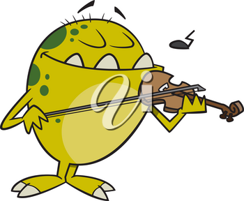 Royalty Free Clipart Image of a Monster Playing a Violin