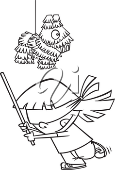 Royalty Free Clipart Image of aGirl Trying to Hit a Pinata