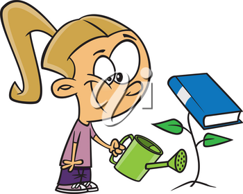 Royalty Free Clipart Image of a Girl Watering a Book Plant