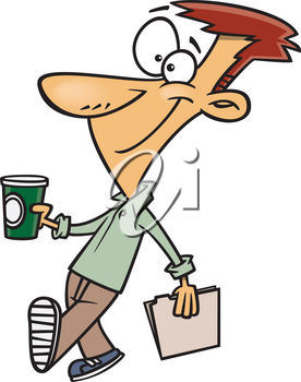 Royalty Free Clipart Image of a Man with a Coffee and File Folder