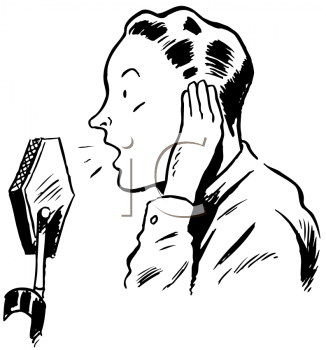 Royalty Free Clipart Image of a Radio Announcer