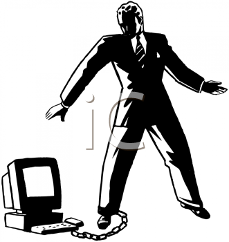 Royalty Free Clipart Image of a Man With a Computer Chained to His Leg