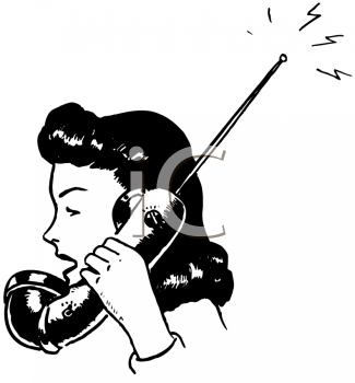 Royalty Free Clipart Image of an Archaic Cordless Phone