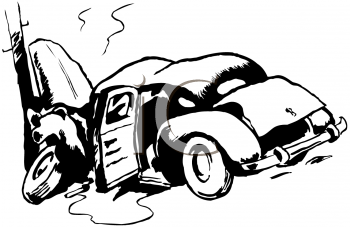 Royalty Free Clipart Image of an Automobile Wreck