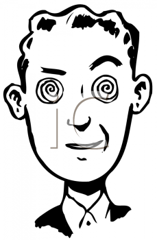 Royalty Free Clipart Image of a Guy With Crazy Eyes