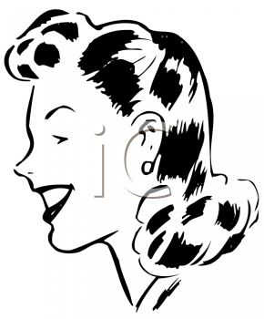 Royalty Free Clipart Image of a Woman With a 1940's Hairstyle