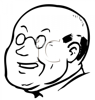 Royalty Free Clipart Image of an Older Bald Man With Glasses