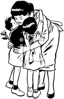 Royalty Free Clipart Image of a Mother Hugging Her Children
