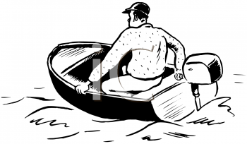 Royalty Free Clipart Image of a Guy in a Motorboat