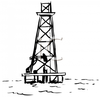Royalty Free Clipart Image of Offshore Oil Riggings