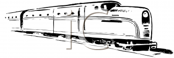 Royalty Free Clipart Image of a Train Not Moving