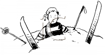 Royalty Free Clipart Image of a Wipeout on the Ski Slopes