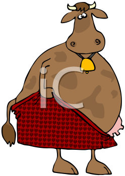 Royalty Free Clipart Image of a Cow Pulling on Pants