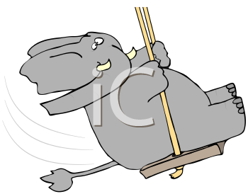 Royalty Free Clipart Image of an Elephant Swinging