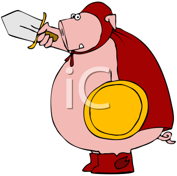 Royalty Free Clipart Image of a Pig Warrior