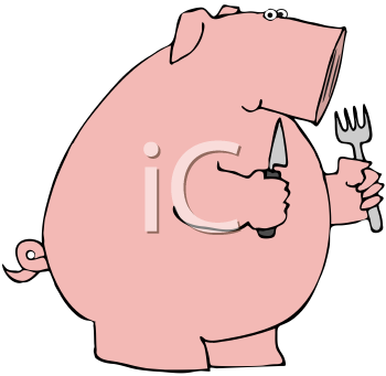 Royalty Free Clipart Image of a Hungry Pig