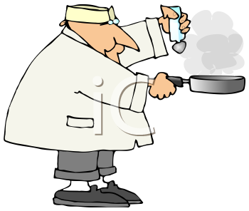 Royalty Free Clipart Image of a Man Cooking