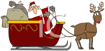 Royalty Free Clipart Image of Santa's Sleigh Being Pulled By a Reindeer