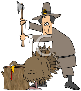 Royalty Free Clipart Image of A Pilgrim Chopping Off a Turkey's Head