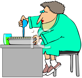 Royalty Free Clipart Image of a Woman Doing Test Samples