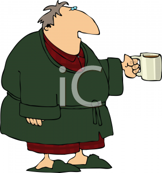 Royalty Free Clipart Image of a Man in a Bathrobe Holding a Mug