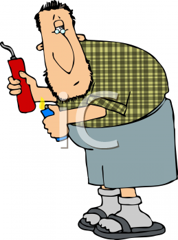 Royalty Free Clipart Image of a Man Lighting a Stick of Dynamite