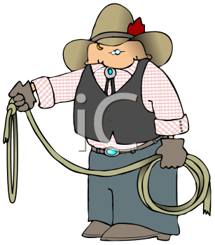 Royalty Free Clipart Image of a Cowboy Holding a Lasso