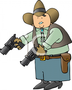 Royalty Free Clipart Image of a Cowboy Holding Guns