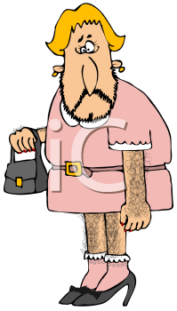 Royalty Free Clipart Image of a Cross Dressing Male