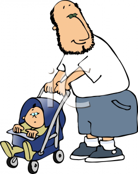Royalty Free Clipart Image of a Dad Pushing a Stroller