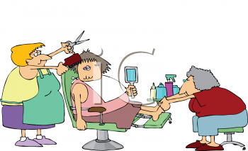 Royalty Free Clipart Image of a Woman Getting her Haircut and a Pedicure
