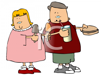 Royalty Free Clipart Image of Children Eating Fast Food