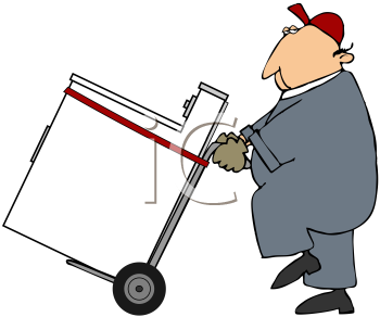 Royalty Free Clipart Image of a Man Moving a Dryer