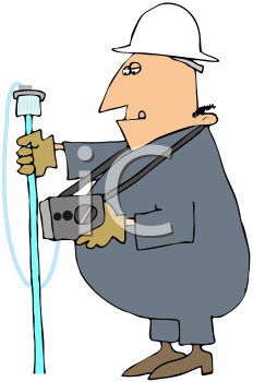 Royalty Free Clipart Image of a Man With a Metal Detector