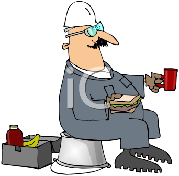 Royalty Free Clipart Image of a Man on His Lunch Break Sitting on a Bucket