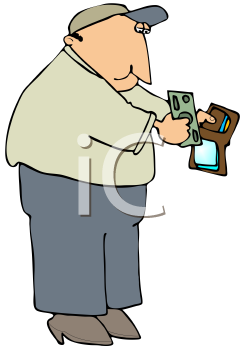 Royalty Free Clipart Image of a Man Holding His Wallet