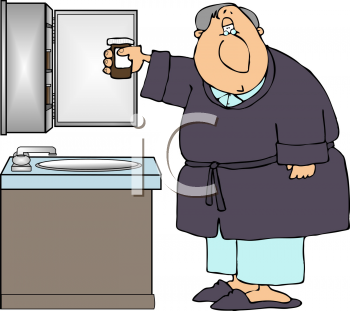 Royalty Free Clipart Image of an Old Man in the Bathroom
