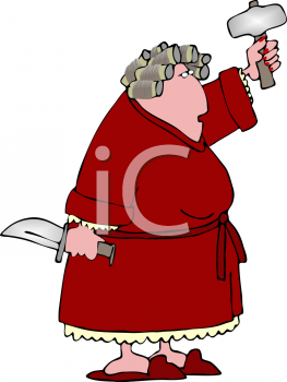 Royalty Free Clipart Image of a Woman Holding Weapons