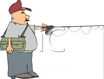 Royalty Free Clipart Image of a Man Fishing