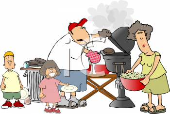 Royalty Free Clipart Image of a Family Having a Barbeque