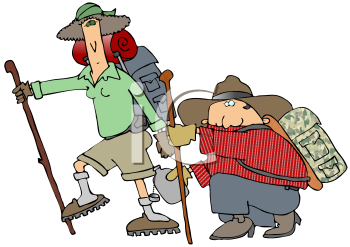Royalty Free Clipart Image of People Hiking