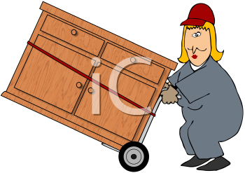 Royalty Free Clipart Image of a Woman Moving a Dresser on a Dolly