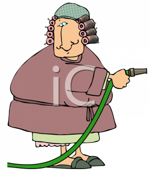 Royalty Free Clipart Image of a Woman Holding a Hose