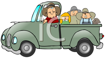 Royalty Free Clipart Image of People in a Green Pick Up Truck