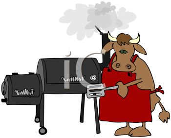 Royalty Free Clipart Image of a Cow Cooking at a Smoker