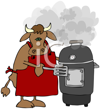 Royalty Free Clipart Image of a Cow With a Smoker