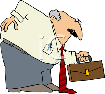 Royalty Free Clipart Image of a Man With a Bad Back